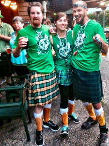 The lepre-pussy's! Matching shirts planned, matching beer socks was just luck of the irish!